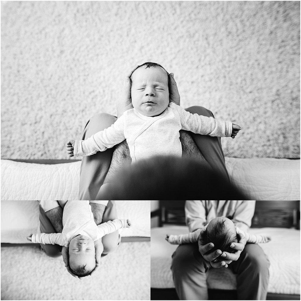 Tiny newborn baby in dad's arms | Orlando newborn photographer