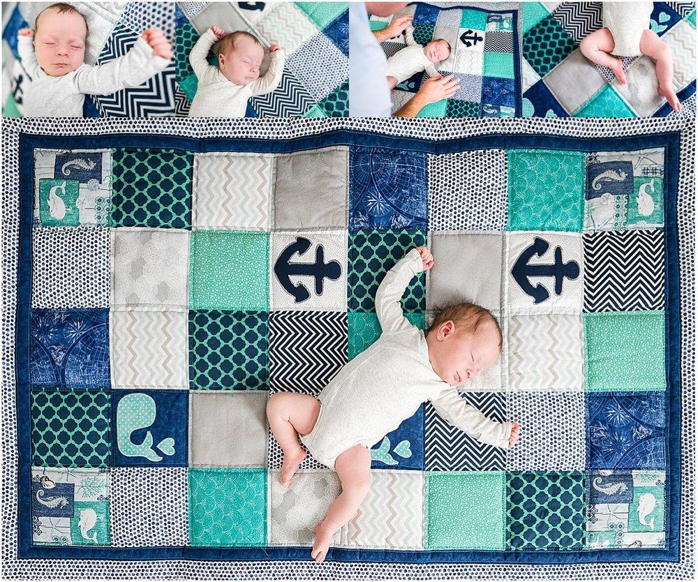 Sleeping newborn baby boy on a quilt | Orlando newborn photographer