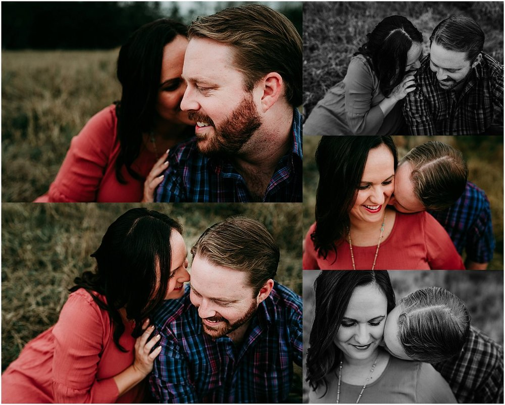 Pregnant mom whispering in dad's ears in Orlando | Central Florida Newborn Photographer