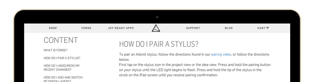 Forge Support — Rapid website development, Adonit