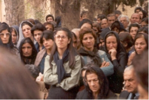 Mourners at a gravesite gathering for martyr Yadu'llah Vahdat in Shiraz in 1981. The young woman in front with glasses, Zarrin Muqimi, would herself be martyred in 1983 with 9 other women including Mona Mahmudnizhad.