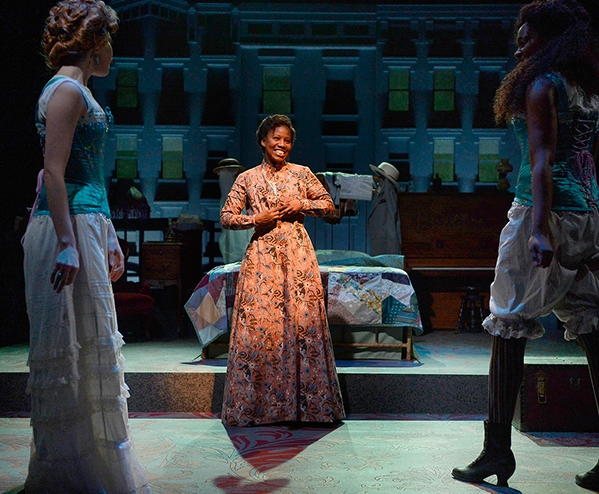 "Allison Altman, Rasool Jahan, and Shanelle Leonard in ""Intimate Apparel"""