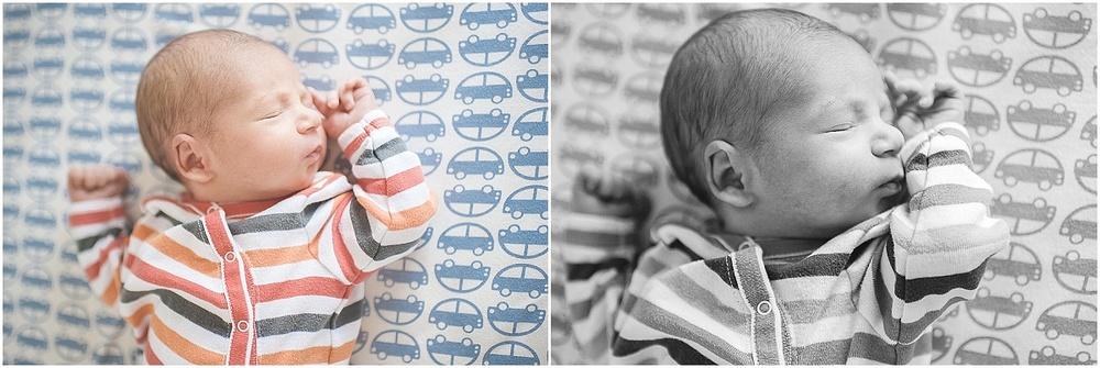 newborn portraits. baby boy in crib