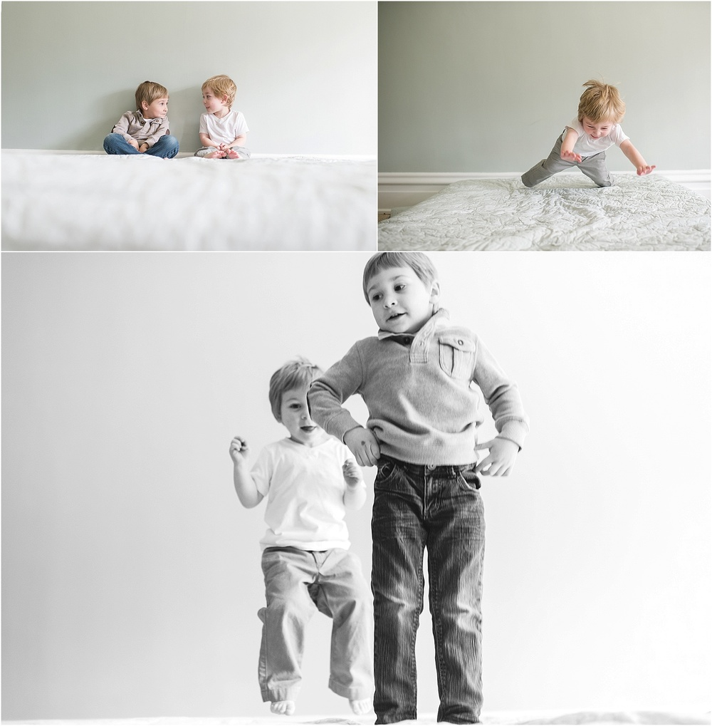 jumping on the bed.  verv photography sibling portraits