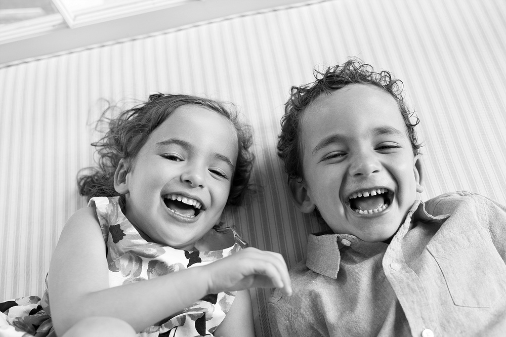 twins laughter.  nyc family photographer