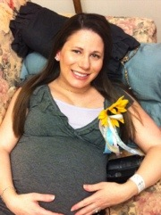 Hanging out on my couch at the baby shower