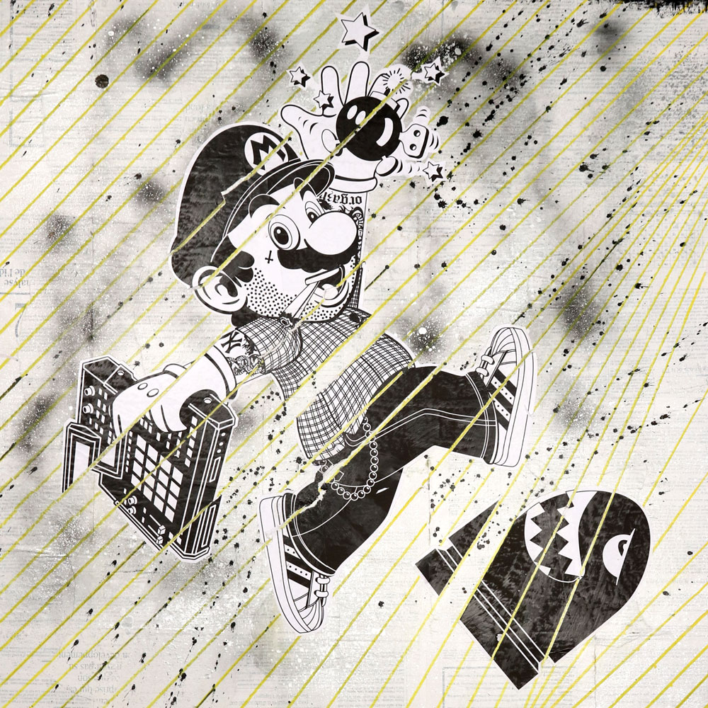 "Mario + Asterix - Mixed Media on Wood Panel, 32"" x 32"""
