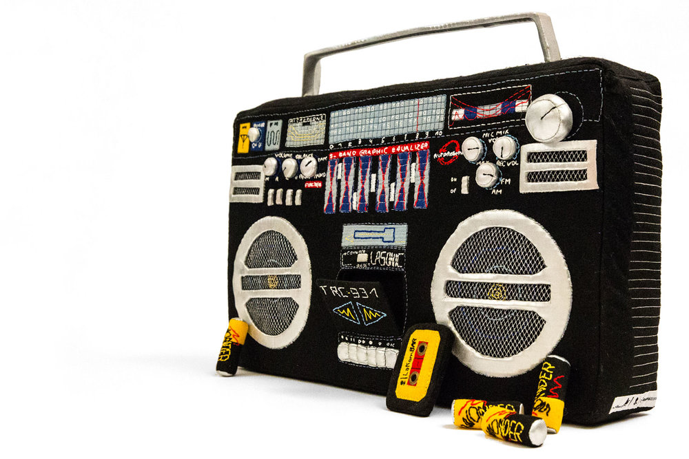 The Boombox by Julia for La Kombo laboratory is a real size handmade sewing sculpture of the notorious portable cassette player.