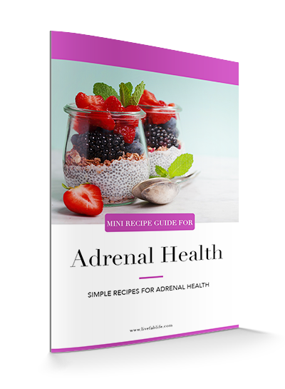 A mini recipe guide with over 20 simple recipes that support adrenal health.