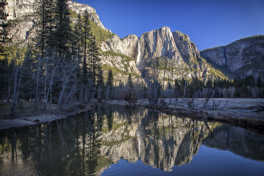 Upper Yosemite Falls Reflected in the Merced River