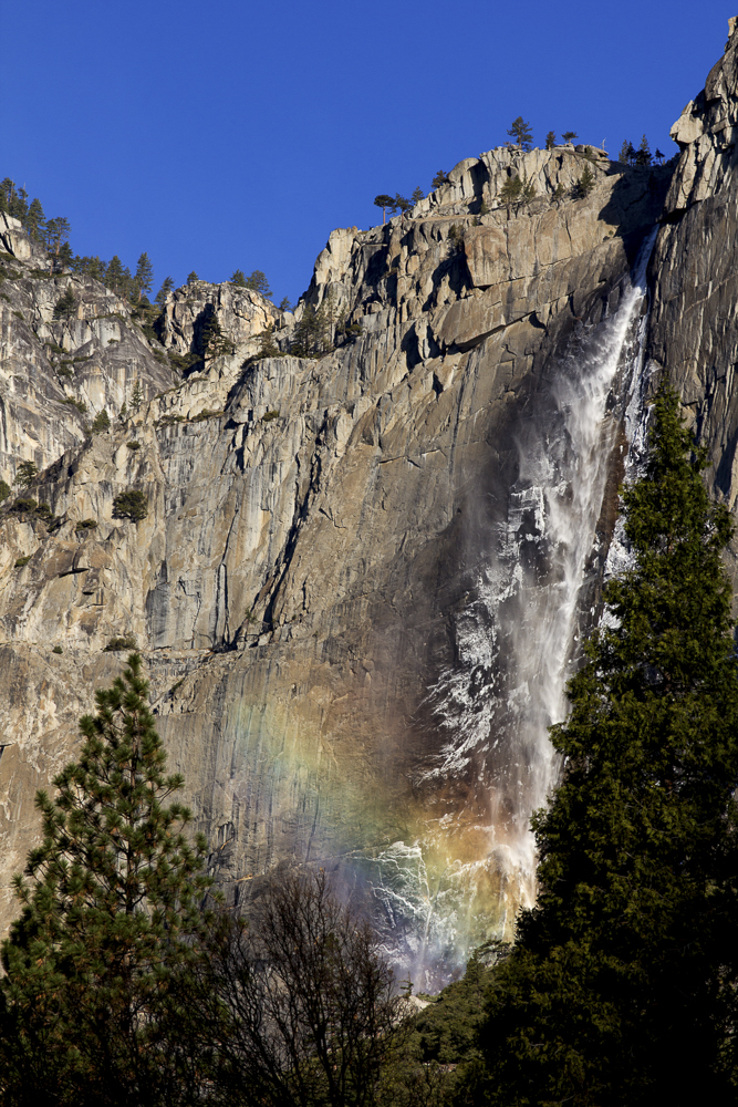 Upper Yosemite Falls Rainbow with Snow
