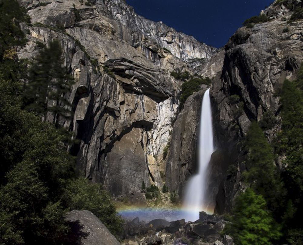 Moonbow Lower Yosemite Falls, Full Moon May 2015