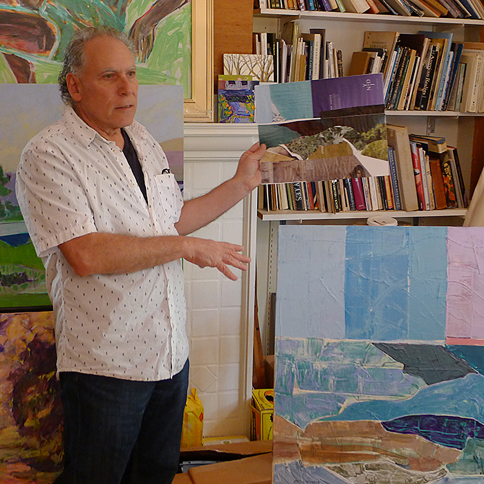 Painter Lenny Moskowitz showing one of his plein air collage studies