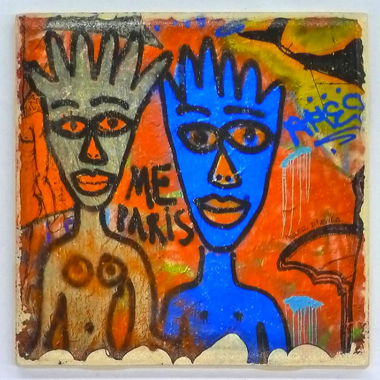 A digital transfer print to a ceramic bisque tile by artist Greg Bear.