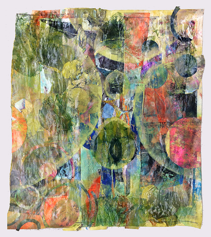 "Amy McNamara-Higgens - Gelatin monoprint on collaged paper with digital transfer prints, ~18x24"", 2016"