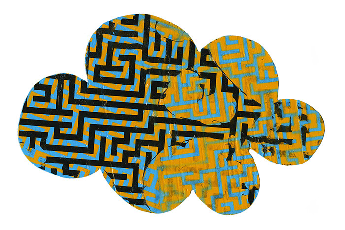 Ken Lovell - Cloud Maze, 2016, 27x17.5x1cm, acrylic and digital transfer on wood. In class demo.