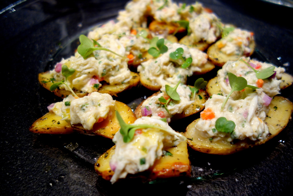 Fingerling potatoes, crab salad, radish