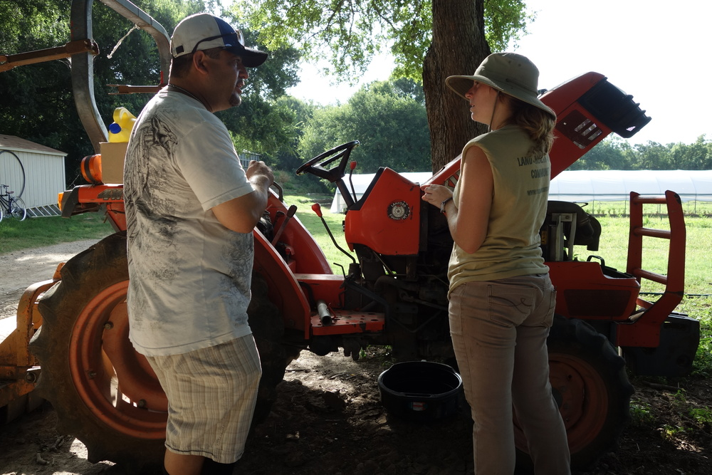 As we were harvesting okra, one of the volunteer coordinators mentioned that she had been having trouble with her tractor overheating and with Ray's years of mechanical expertise, he offered to help diagnose the problem. The tractor will definitely need some work and we plan to help as much as we can to resolve the issue.