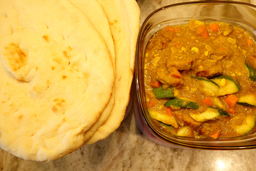 Garlic Naan, Lentils, Spicy Sausage, Carrots, Sweet Corn, Squash
