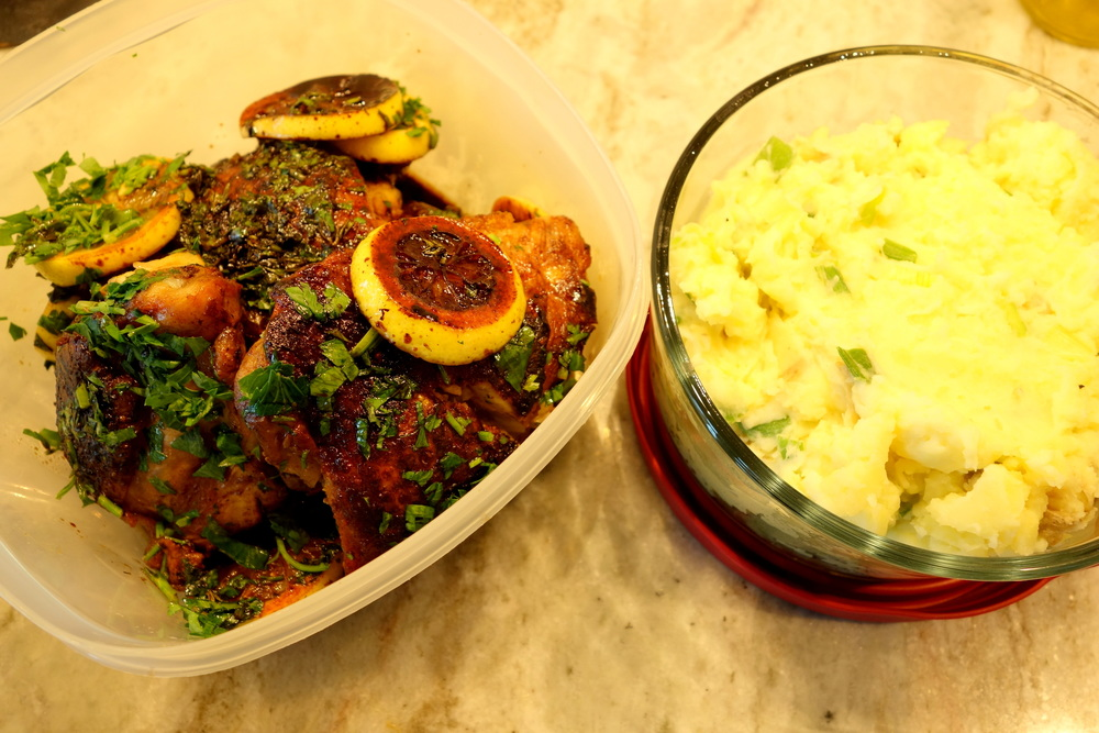 Chicken thighs, soy sauce, lemon, parsley and thyme with Mashed potatoes and green onions