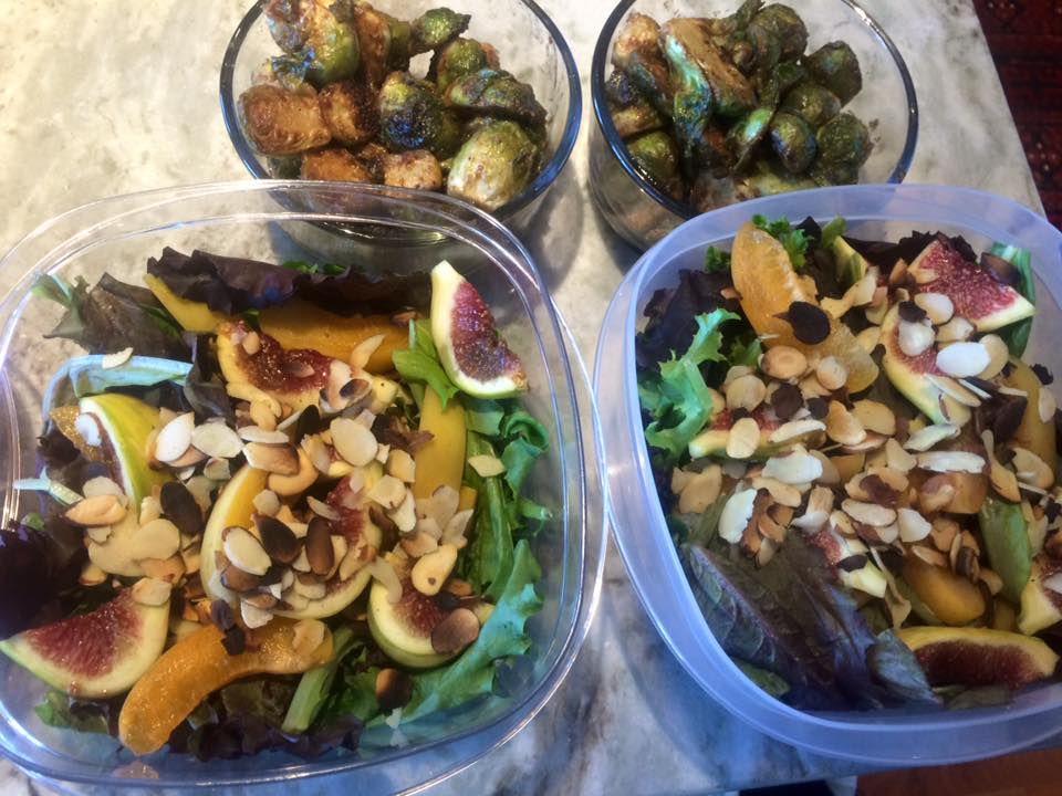 Fig and apricot salad, toasted almonds, apricot vinaigrette. Almond butter+soy brussels