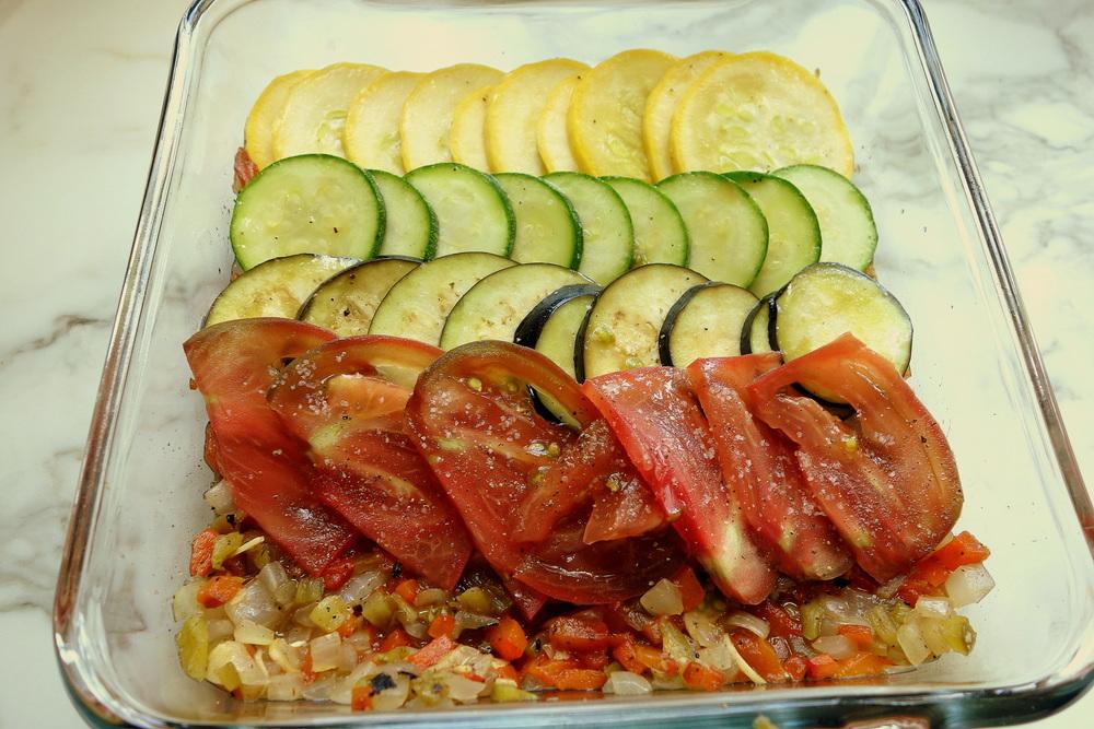 Vegetable Gratin in the making