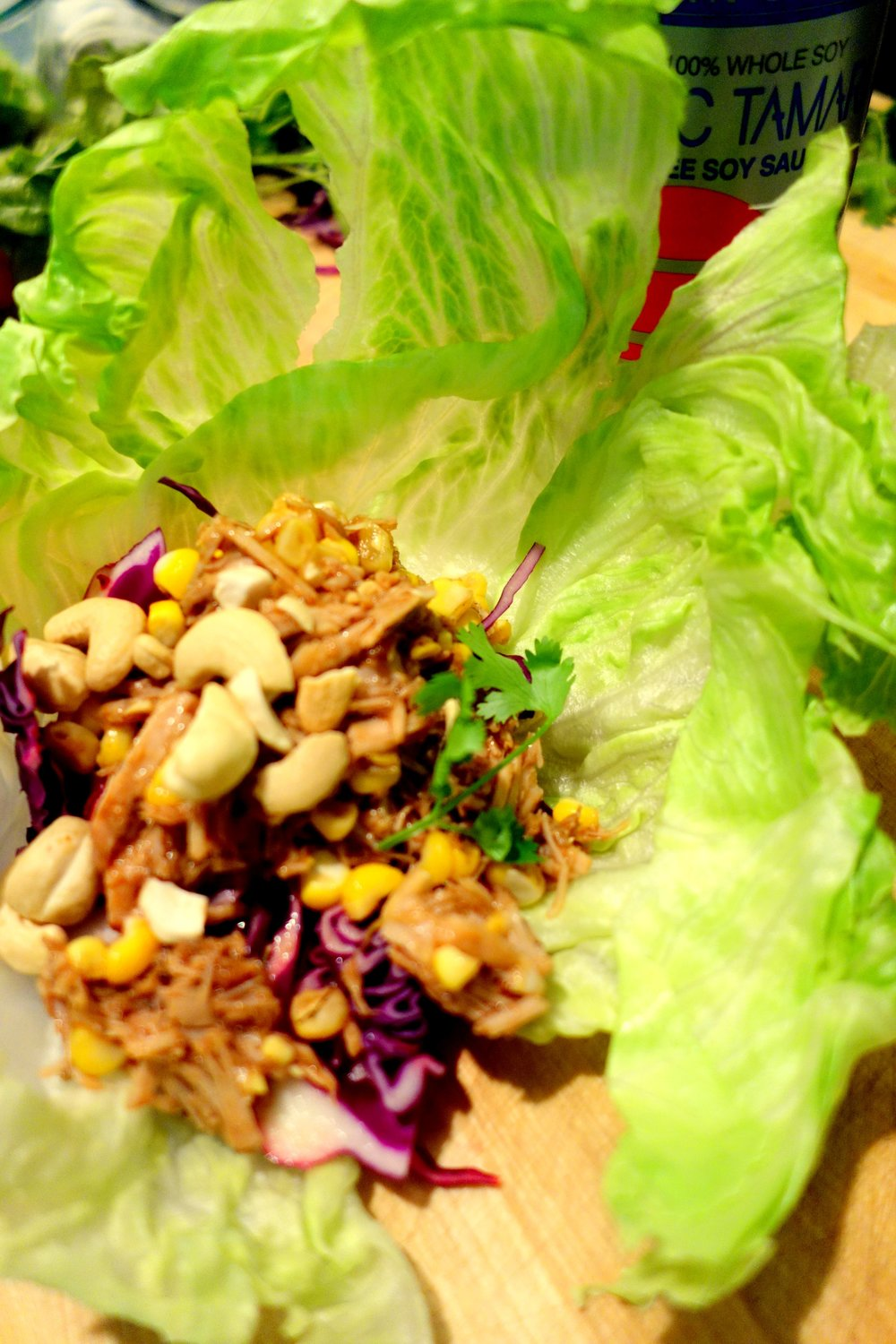 Braised pork wrap, cabbage, corn, cashews, soy