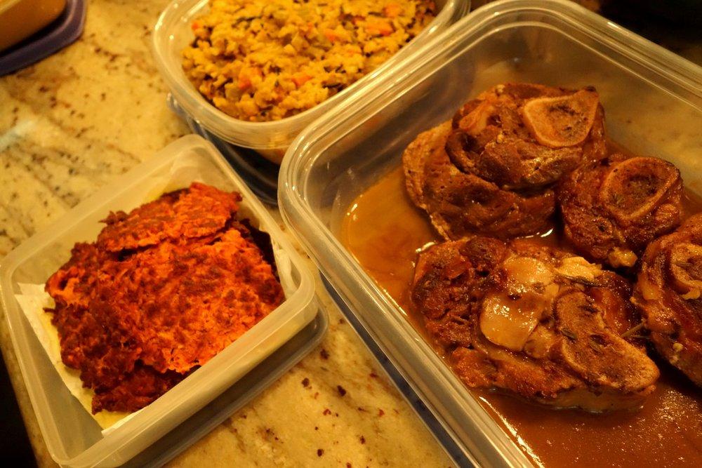 Sweet Pot Pancakes, Lentils, Braised Ham Hocks