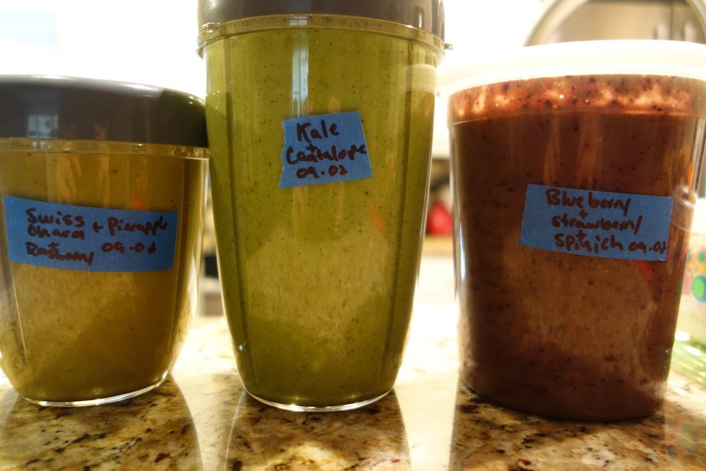 SMOOTHIES: 1) Swiss Chard, Pineapple, Banana2) Kale, Cantaloupe 3) Blueberry, Strawberry, Spinach