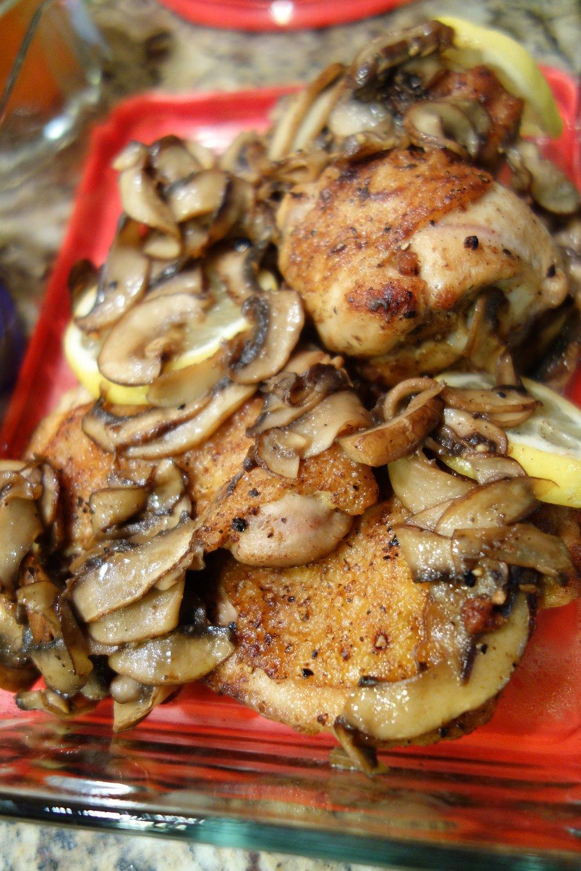 Braised Chicken Thighs, Mushrooms, Lemon