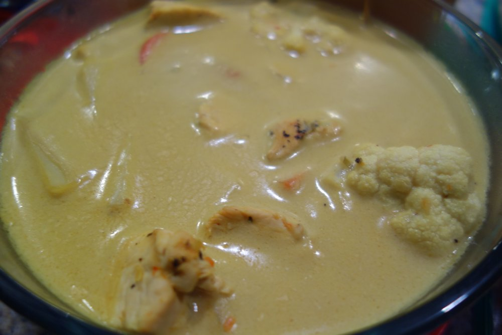 Thai Coconut curry soup with cauliflower and chicken