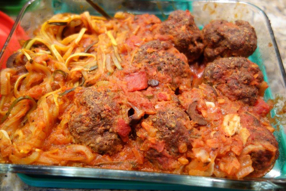 Zucchini Putanesca, Lean Meatballs