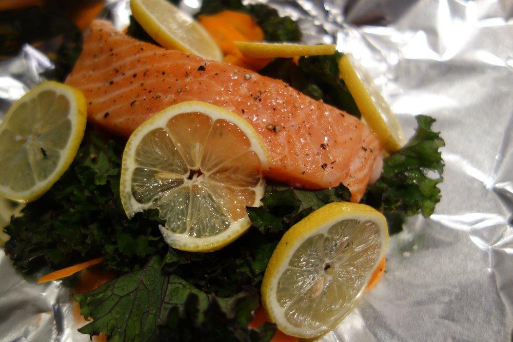 Salmon Packet, Kale, Lemon