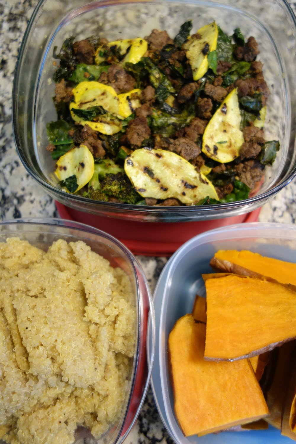 Ground Beef, Squash, Spinach, Kale --- Side of Quinoa, and Sweet Potatoes