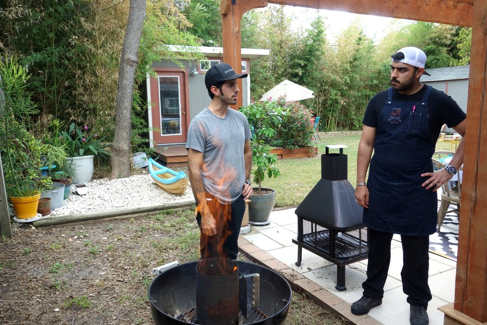 Ryan and I prep. the grill and talk some serious business!