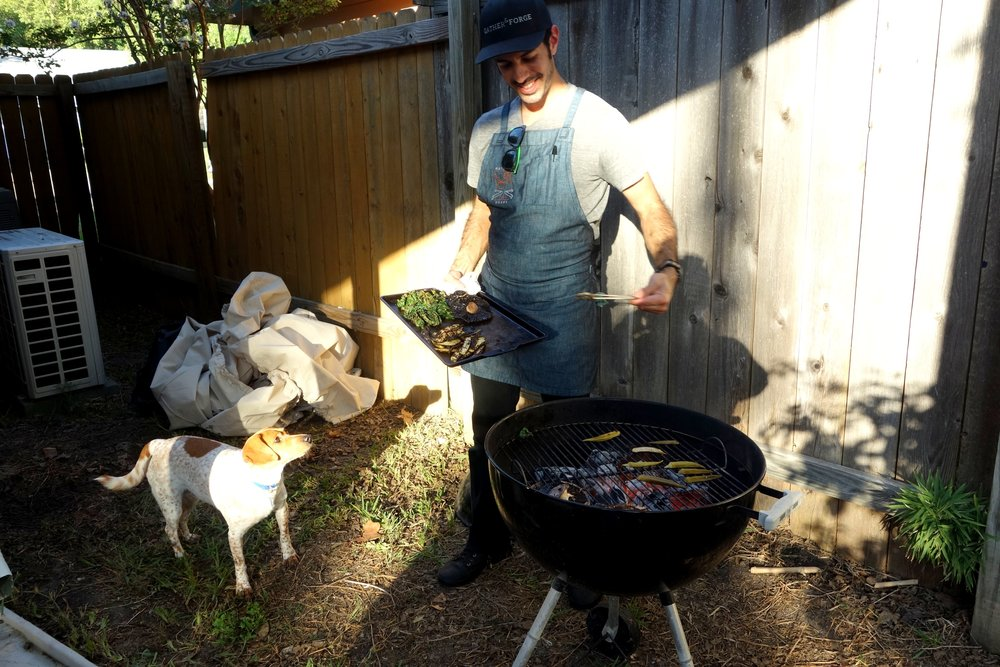 Grilling off the first course's ingredients