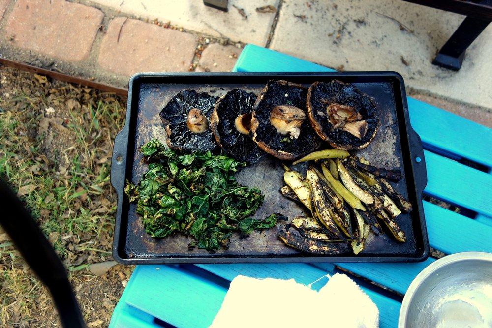 Grilled portabello, kale, pickled okra