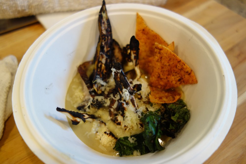 First Course: Green Chile Cauliflower Soup, Grilled Okra, Kale, Mushroom, Tortilla, Smoked Cheddar