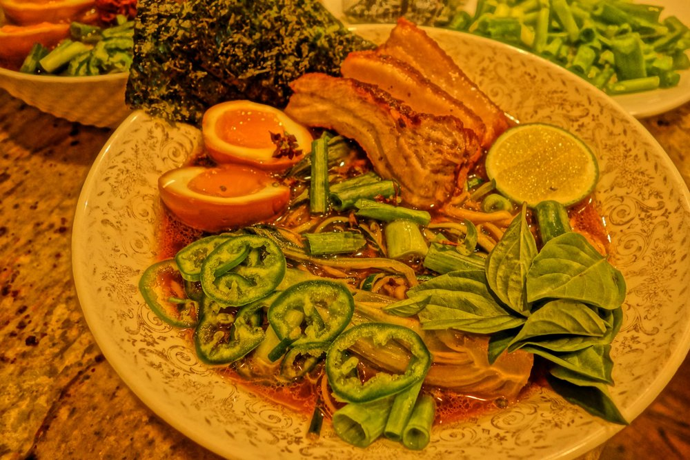 Pork and beef broth, chasu, bok choy, soy marinated soft egg, nori, lime, basil, jalapeno