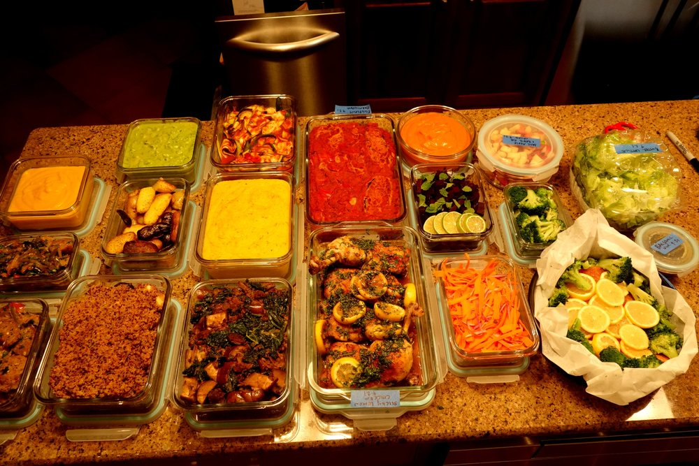 (1.) Eggplant Parmesan with Zucchini Pasta (2.) Salmon steam packet with lemon, broccoli (3.) Lamb, Butternut Squash, Kale, Rice (4.) Sticky Lemon Chicken, Kholrabi mash, quinoa (5.) Sausage, Peppers, Onions, Roasted Garlic Polenta (6.) Lime Marinated Beets, Apples, Carrots, Pears, Balsamic Vin.