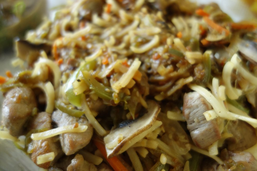 Pork, veg., rice noodle stir fry