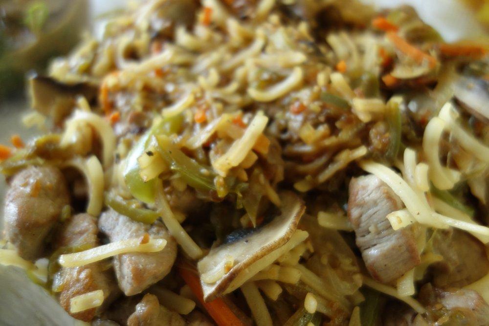 Pork, veg., rice noodle stir fry