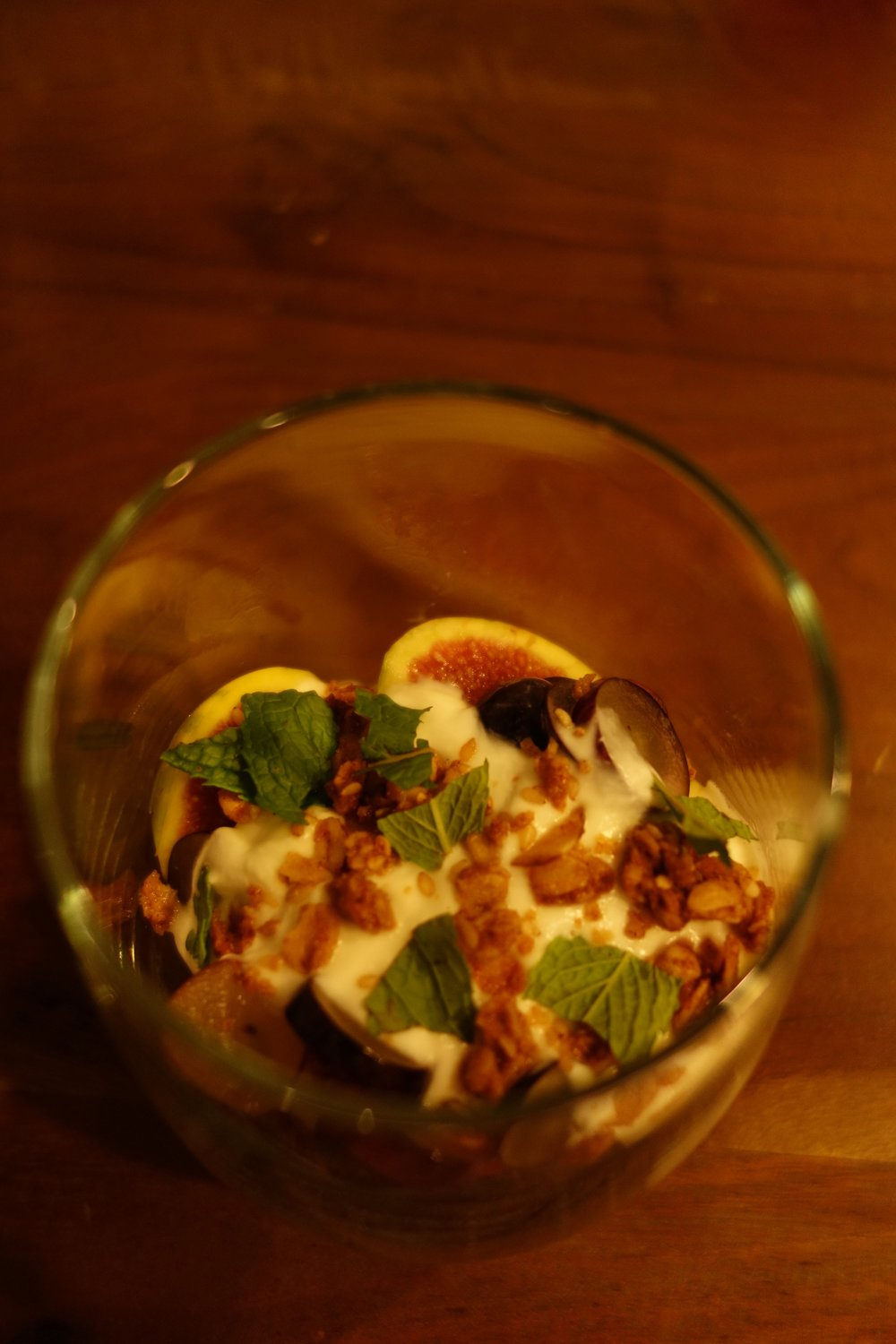 Honey Buffalo Yogurt Parfait, granola, grapes, figs, raspberries, mint