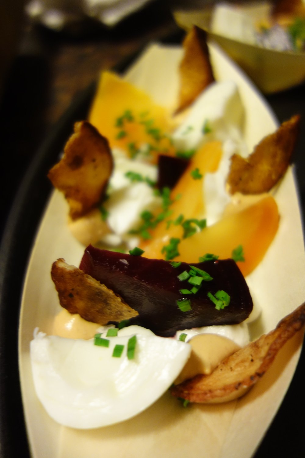 Deviled Egg, Potato Chips, Lime Marinated Beets, Chives