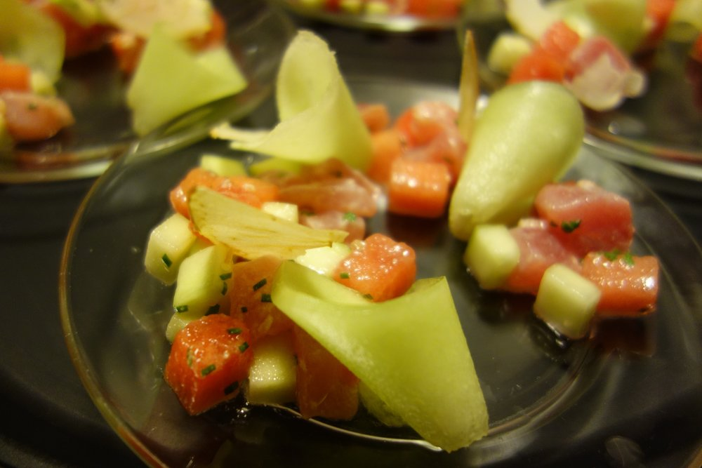 Yellowfin Crudo, Cucumber, Watermelon, Honeydew, Lime, Chives, Apple Chips