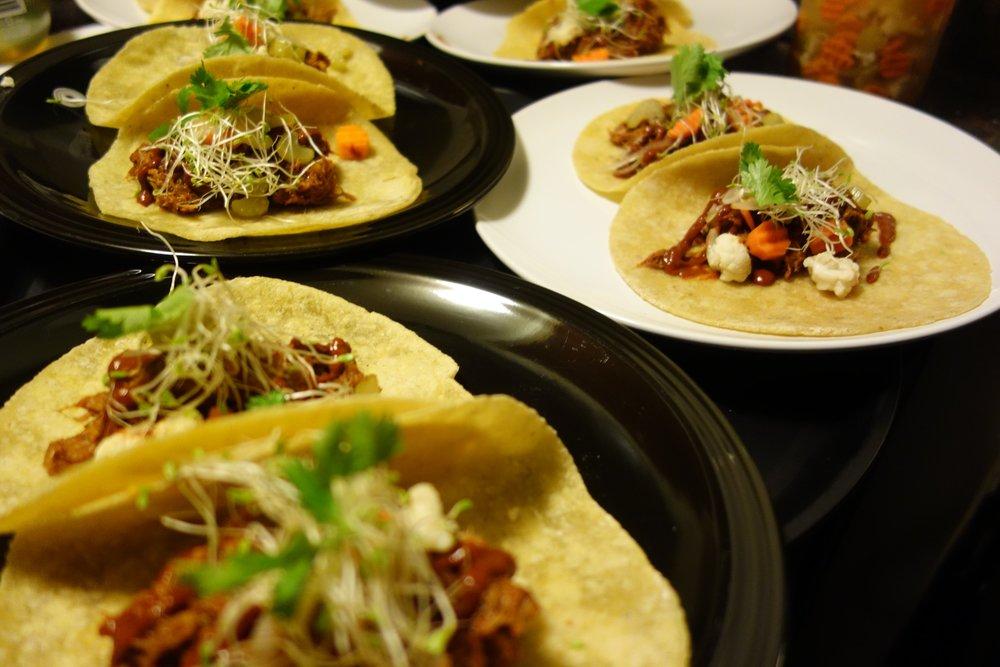 Red Chile Pork Tacos, Giardiniera, Alfalfa, Cilantro