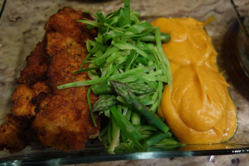 Chicken Thigh Cutlet, Asparagus, Butternut Squash Puree
