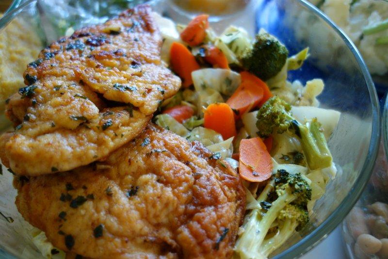 Chicken Marsala, steamed Vegetables