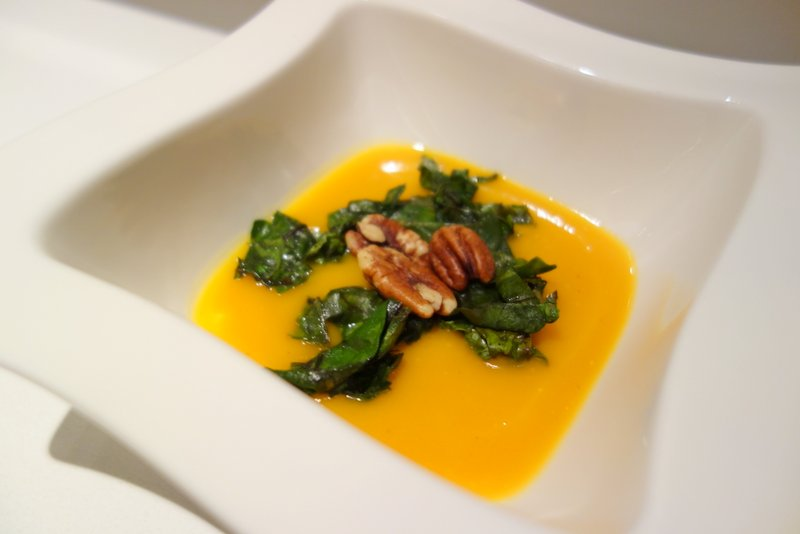 Butternut Squash Soup, Charred Beet Greens, Roasted Pecans