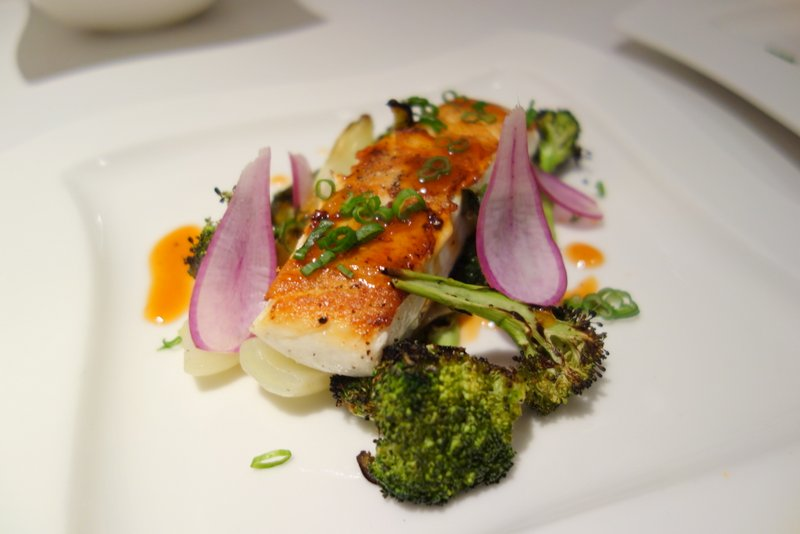 Sweet and Sour Alaskan Halibut, Charred Broccoli, Bok Choi, Radish, Green Onion